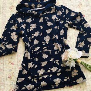 Tops - Navy Floral Nursing Slim Fit Plush Hoodie Size L
